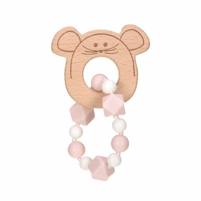 Bijt ketting | Sillicone/Hout | Little Chums Mouse